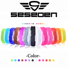Deporte de la manera LED Relojes de los hombres de las mujeres Del Color Del Caramelo de Goma de Silicona Relojes Digitales de la Pantalla Táctil A Prueba de agua Reloj de la Pulsera