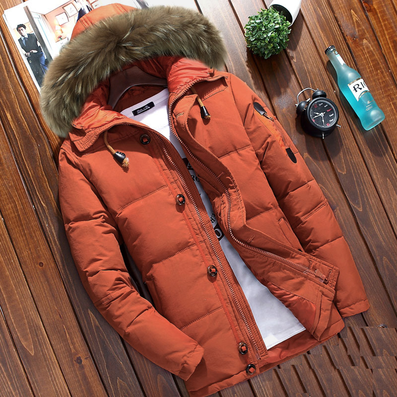 Male winter thickening down coat natural raccoon dog fur collar hooded duck down short jacket for man orange army green 2xl 3xl