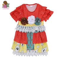 New Fashion Summer Design Girls Kids Boutique Clothing Dress Polka Dot Floral Ruffles Princess Party Dress