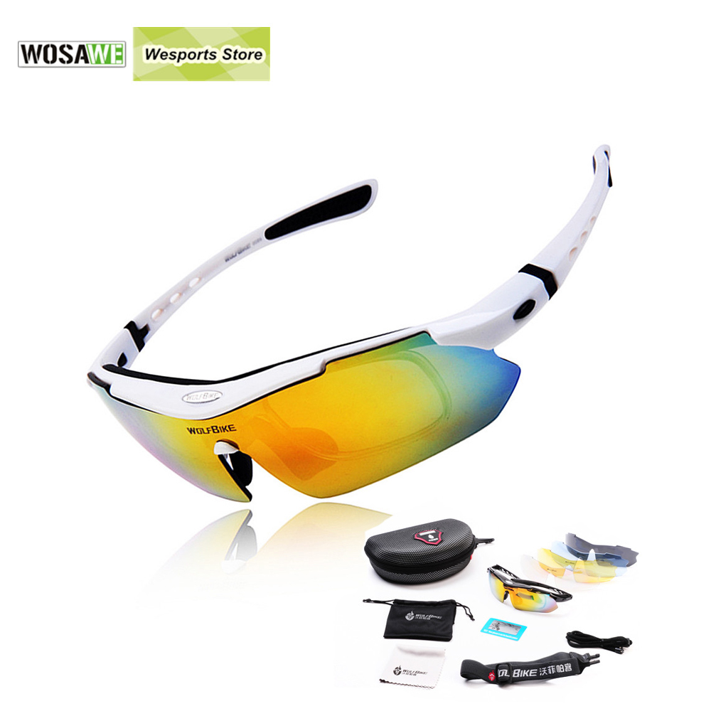 Prix pour WOLFBIKE Hommes cyclisme lunettes lunettes de soleil de vélo cycle de vélo lunettes 5 objectif sport vtt lunettes lunettes polarisées