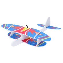 Diy Biplane Glider Foam Powered Flying Plane Rechargeable Electric Aircraft Model Science Educational Toys For Children - Blue