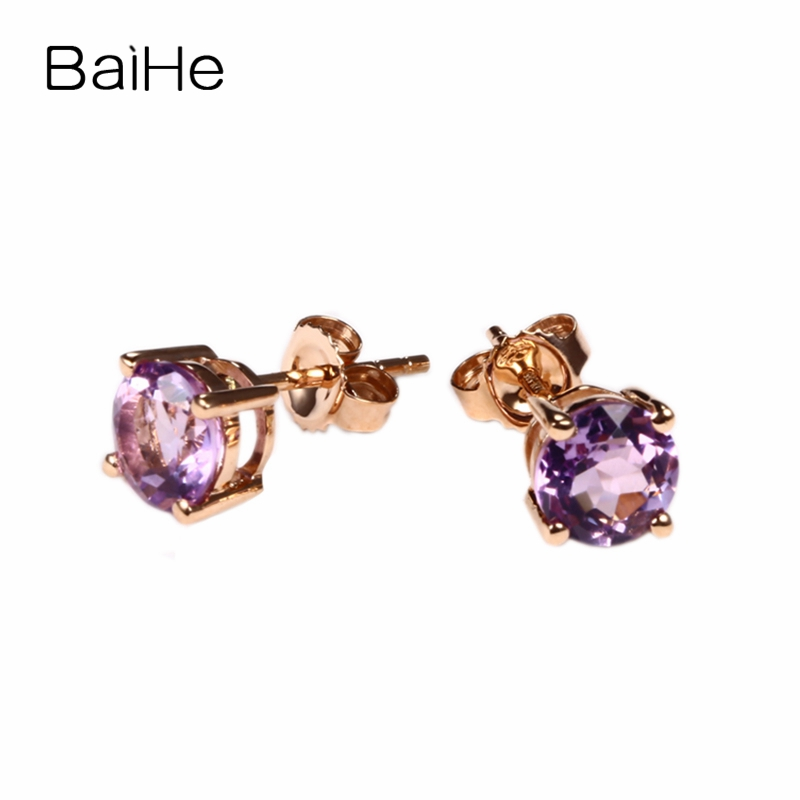 BAIHE 6mm Round Cut 100% Natural Amethyst solid 14k rose gold earrings for women Engagement Wedding Fashion Party Fine Jewelry jewlery sets vintage solid 14k white gold green amethyst diamond earrings for women fine amethyst jewelry