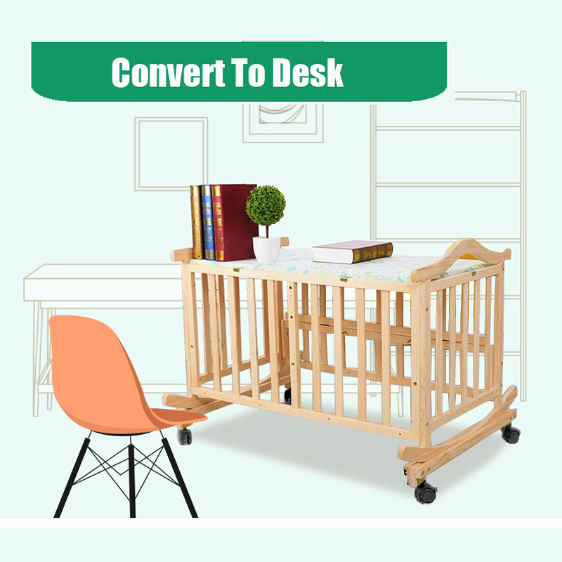 Купить с кэшбэком 120cm Pine Baby Rocking Cradle Newborn Baby Cradle No Paint Nature Infant Bassinet Baby Rocking Cradle With Free Mosquito Net