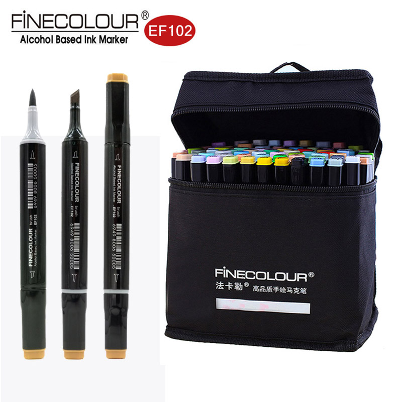 Marqueurs à base d'alcool Finecolour pinceau double pointe 24/36/60/72 dessin graphique coloré Design technique Set de marqueurs de croquis Ef102