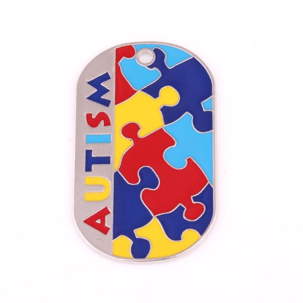 autism awareness identification pendant military dog tag style