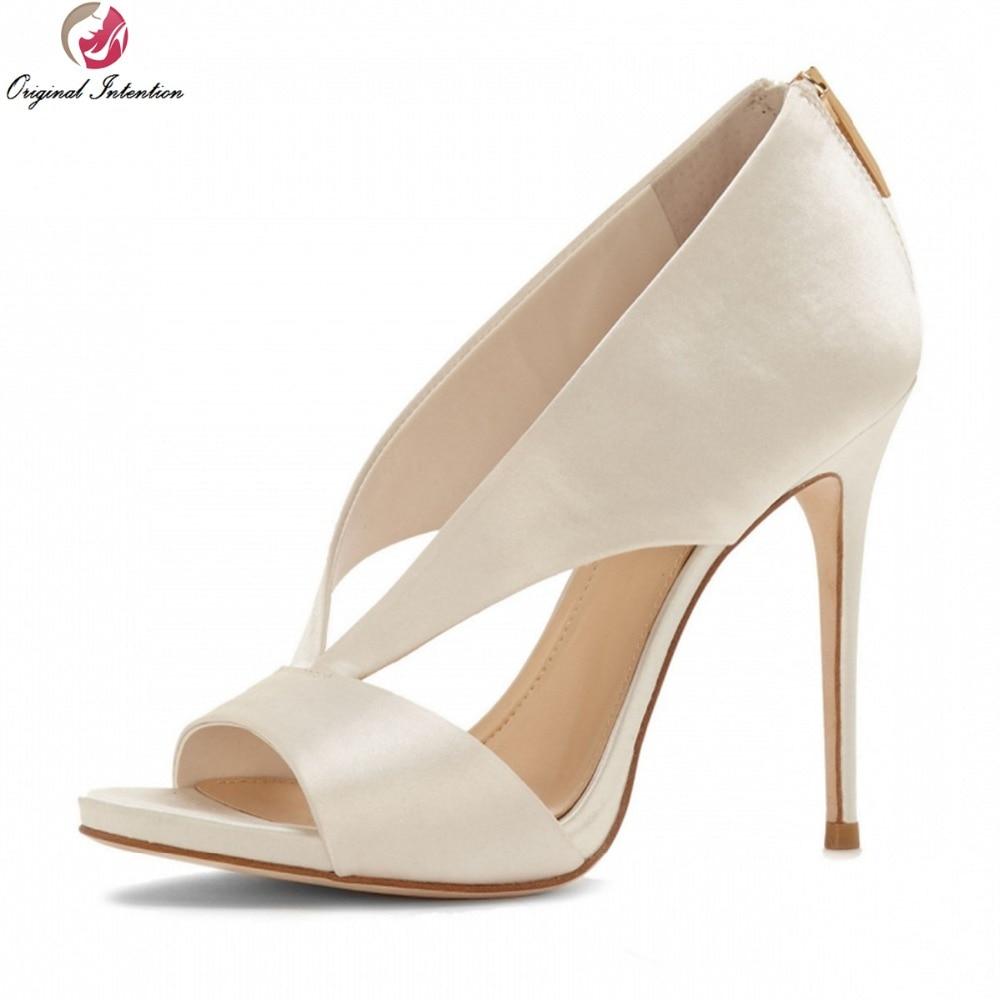 ФОТО Original Intention Women Sandals High-quality Peep Toe Thin Heels Sandals Beautiful Black White Shoes Woman Plus Size 3.5-10.5