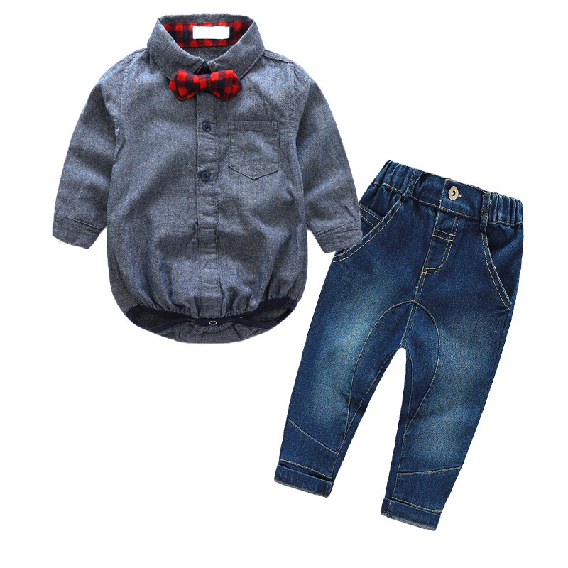 baby boy clothes wholesale Europe Style baby infant gentleman suit boy long sleeve bodysuit + jeans two-piece sets 0-2 year 2017 nice boy baby infant formal gentleman baby boy clothes button necktie suit romper 0 24m long sleeve baby clothing sets