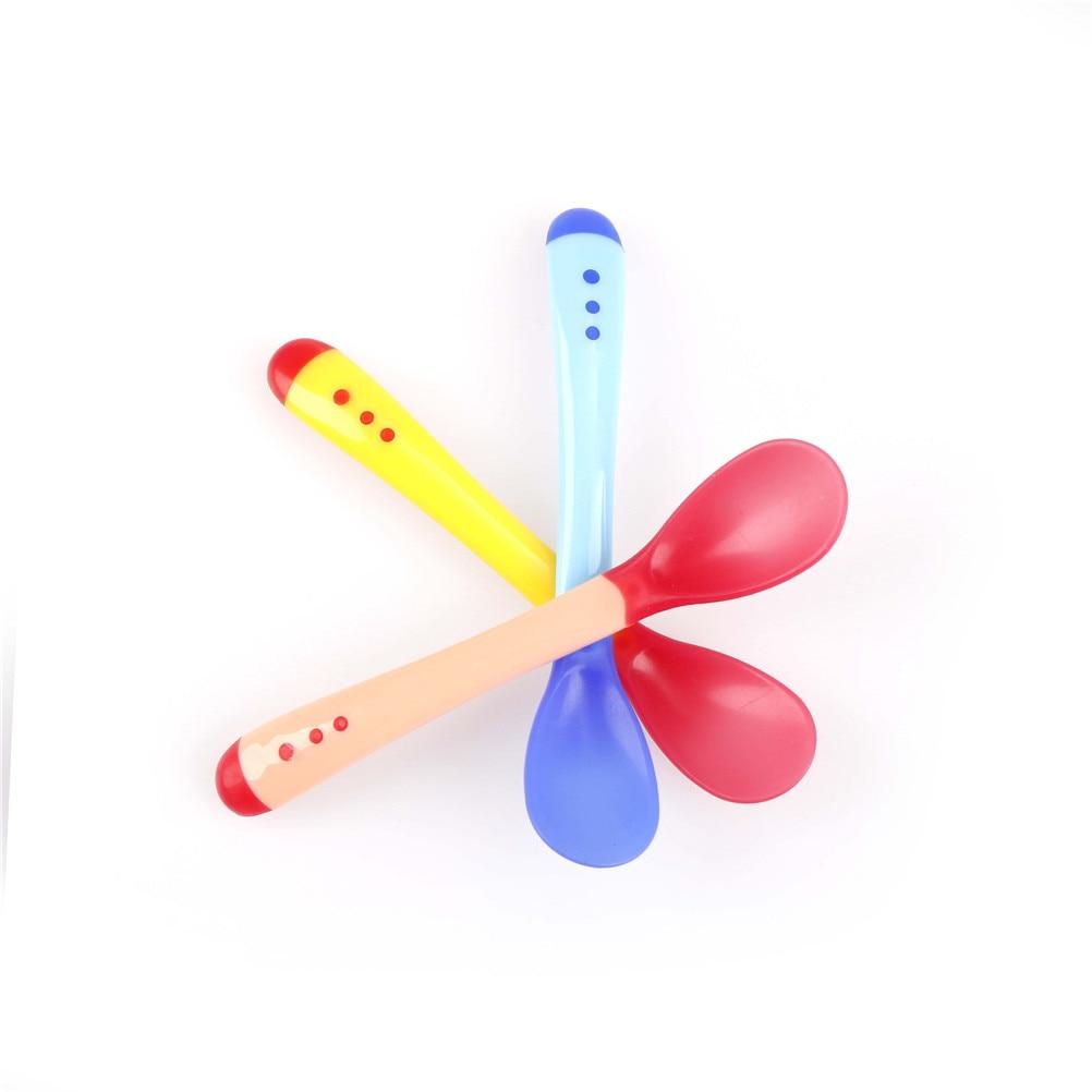 1Xsafety temperature sense baby silicon soft spoon kid children feeding spoon/_ne