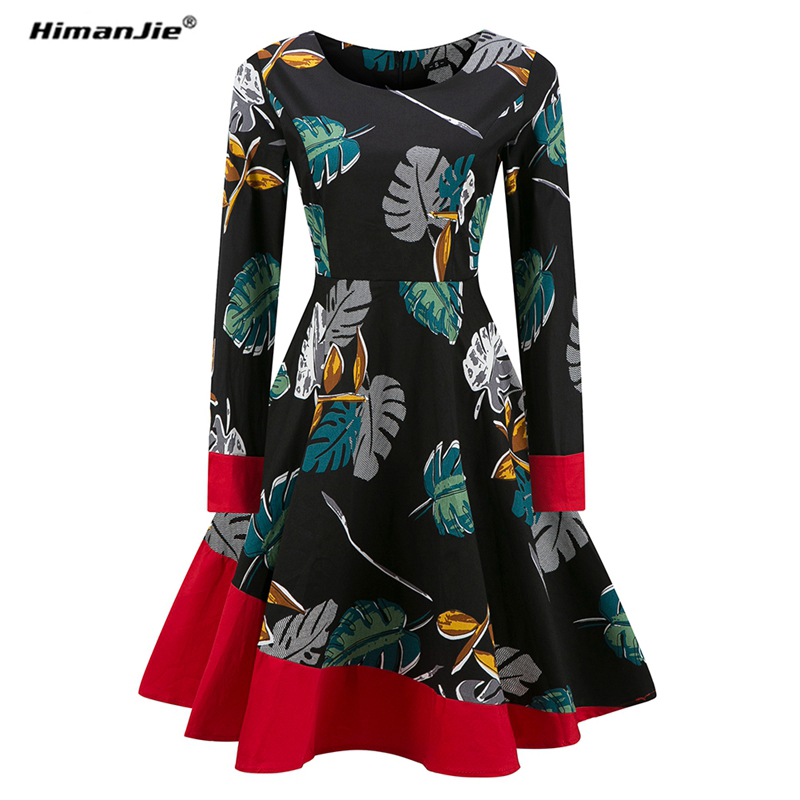 Himanjie White and Black Patchwork Color Dress for Women Retro A Line Girl Casual Robe Femme Tunic Full Sleeve O Neck Dressses