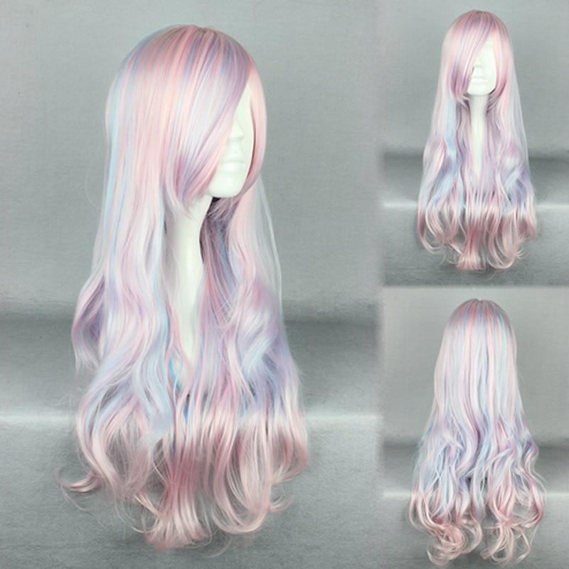 HAIRJOY Synthetic Hair Zipper 70cm Long Wavy Harajuku Lolita Cosplay Wig 18 Colors Available 95