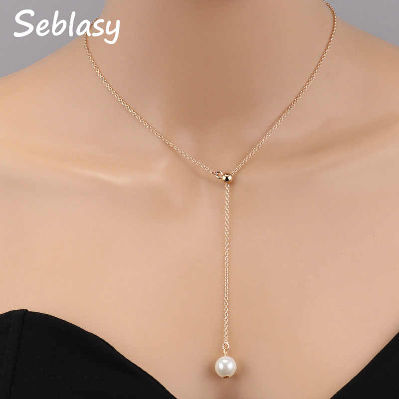 Seblasy Hot Sale Classic Clavicle Chain Beads Simulated Pearl Choker Necklaces & Pendants for Women Charm Jewelry Party Gift
