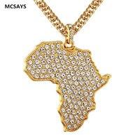 MCSAYS פול קריסטל תליון אפריקה מפה קישור ארוך תכשיטי היפ הופ שרשרת נירוסטה שרשרת אביזרי אופנה לשני המינים