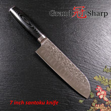 GRANDSHARP 7 Inch Santoku Knife 67 Layers Japanese Damascus Stainless Steel VG-10 Core Micarta Handle Chef Cooking Tools NEW