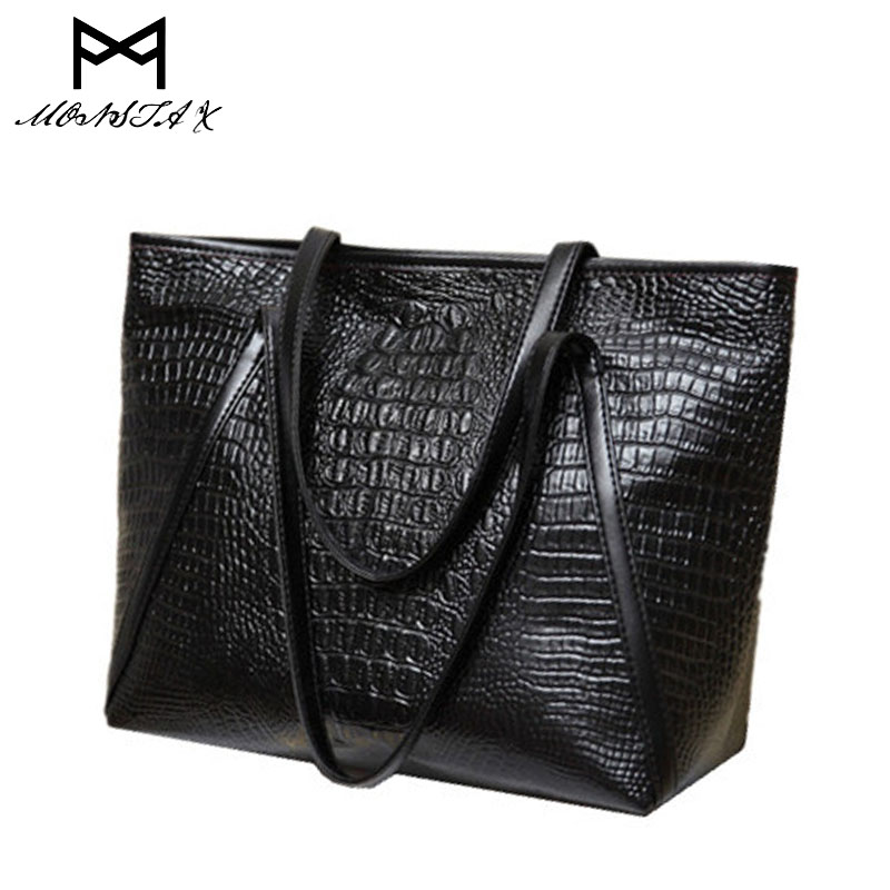 bags for women 2017 fashion casual glossy alligator totes large capacity ladies simple shopping handbag PU leather shoulder bags fashion alligator handbag luxury bag for ladies women genuine leather totes famous designer shoulder bags versatile casual