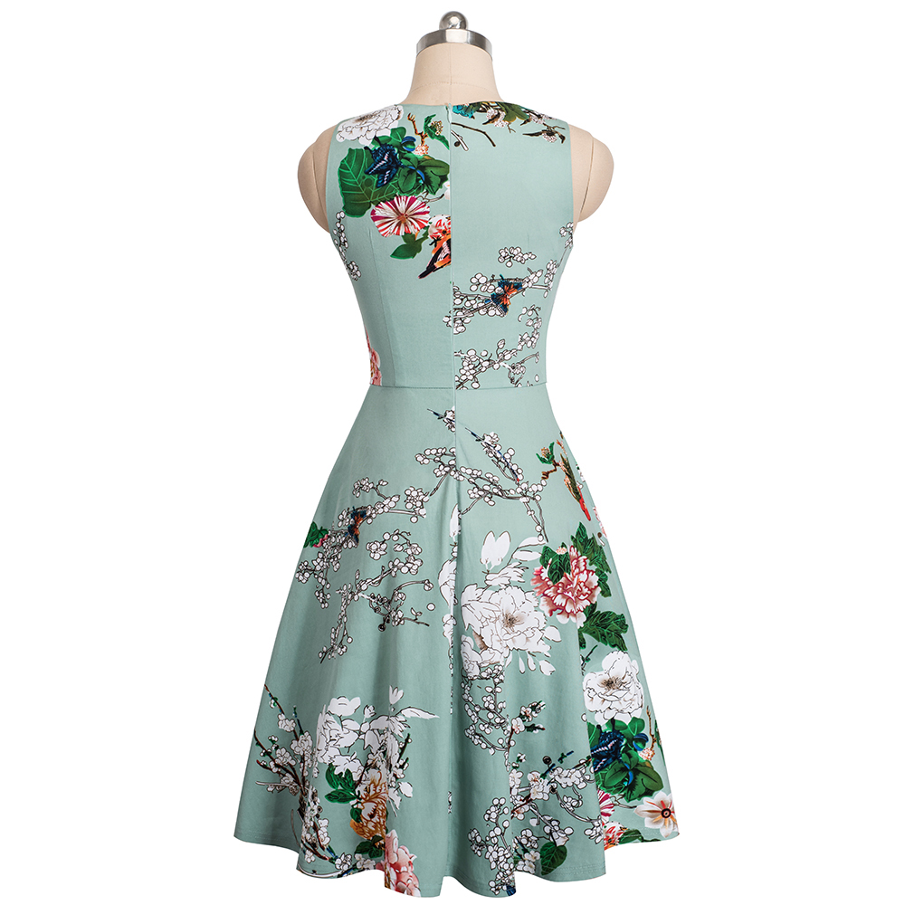 Nice-forever Vintage Elegant Embroidery Floral Lace Patchwork vestidos A-Line Pinup Business Women Party Flare Swing Dress A079 132