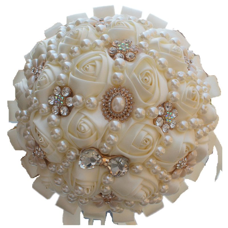 100 Handmade Brooch Wedding Bridal Bouquet Ivory Satin