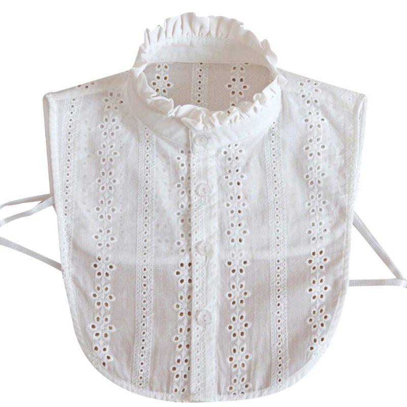 Women Lace Collar Pure Color Detachable Lapel Choker Necklace Shirt Fake False Collar Blouse Sweatshirt Vest Accessories
