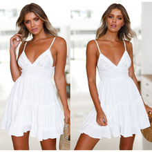 YZ S-2XL Womens Dress 2019 New Summer Boho Beach Deep V Neck Sexy Casual Sleeveless Backless Bow Lace Sling