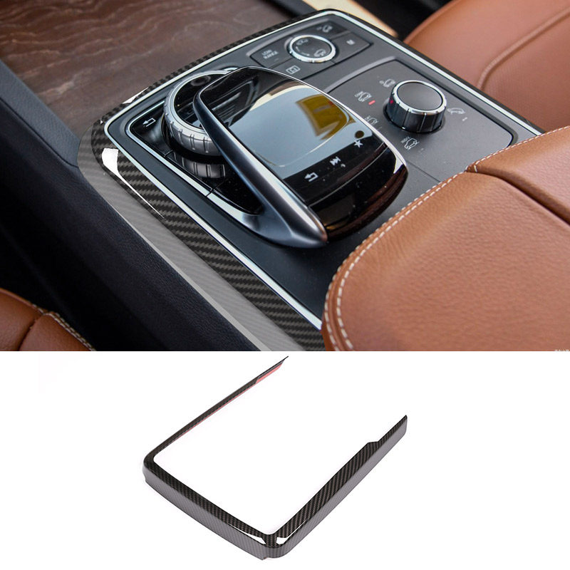 Carbon Fiber ABS Central Control Multimedia Mode Decoration Frame Trim For Mercedes Benz GLE GLS ML