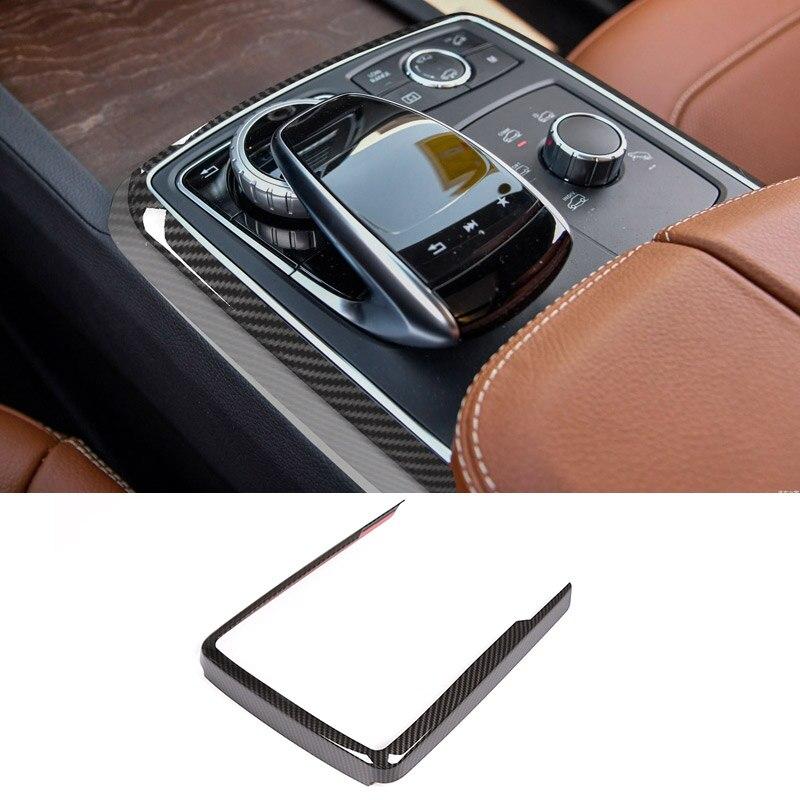 Garniture de cadre de décoration de Mode multimédia de contrôle Central d'abs de Fiber de carbone pour Mercedes Benz GLE GLS ML GL classe W166 2013-2019