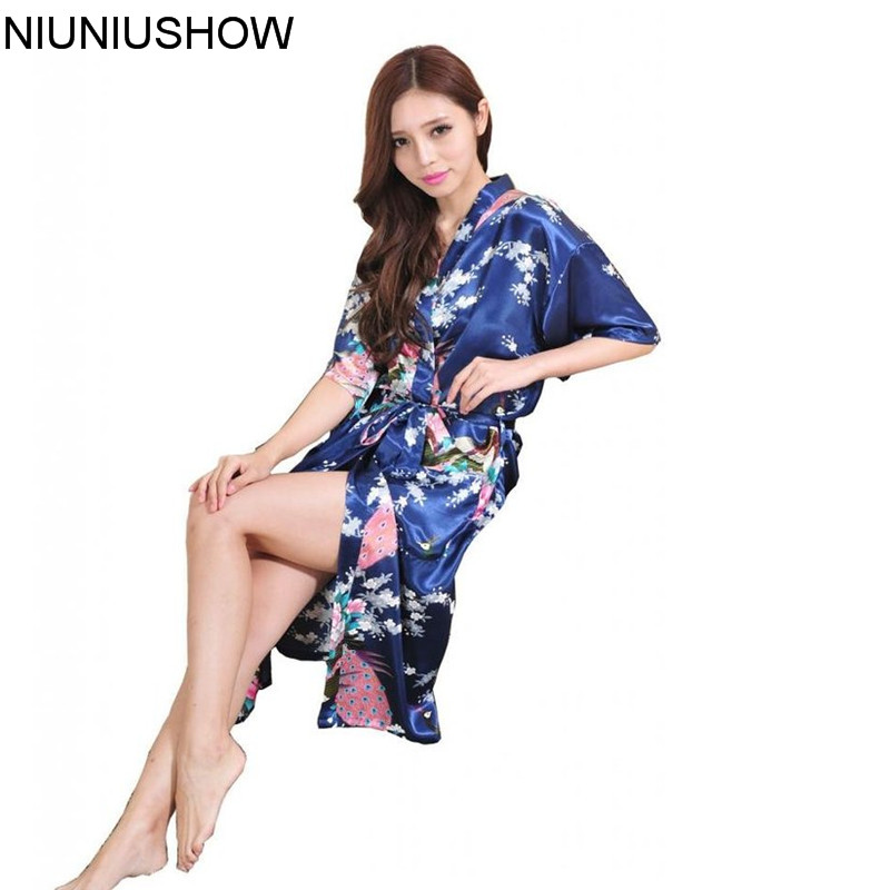 Hot Sale Fashion Chinese Womens Silk Rayon Robe Mujere Pijama Kimono Bath Gown Nightgown Peafowl Size S M L XL XXL XXXL Xsz026B