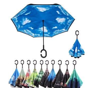 Umbrella Double Layer Man Women Umbrella C Handle Inverted Umbrellas Reverse Windproof Sun Rain Parapluie Invertido QZP263