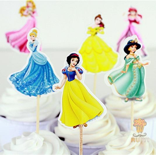 24pcs princess Cinderella cake toppers picks cases for kids birthday