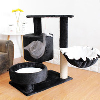 HEYPET New Cat Tree House with Hanging Ball Kitten Furniture Scratch Solid Wood for Cats Climbing Frame Cat Condos