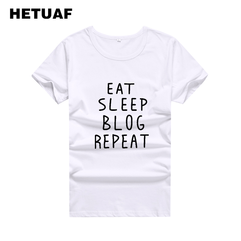 HETUAF EAT SLEEP BLOG REPEAT Tshirts Cotton Women Tops Harajuku Streetwear Punk Rock T Shirt Women Ulzzang Tee Shirt Femme image