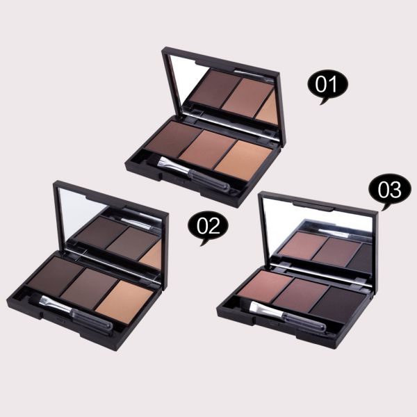 Hot Professional Kit 3 Color Eyebrow Powder Shadow Palette Enhancer with Ended Brushes 5