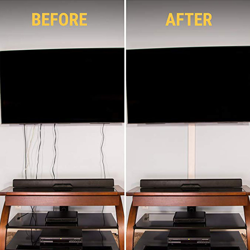 TV Cord Cover Conceals Cables Flat Screen Kit Wall Mount Cable Concealer...