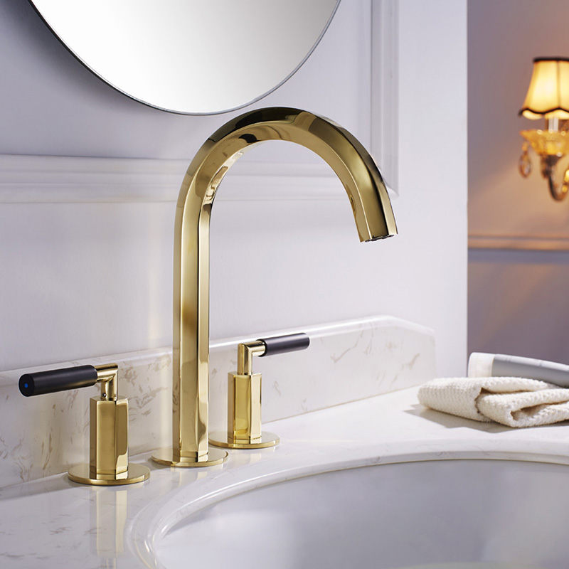 Bathroom Basin Faucet Total Brass Sink Mixer Tap Hot & Cold Bathroom Crane Deck Mounted Widespread Faucet Torneira Gold BrushedBathroom Basin Faucet Total Brass Sink Mixer Tap Hot & Cold Bathroom Crane Deck Mounted Widespread Faucet Torneira Gold Brushed