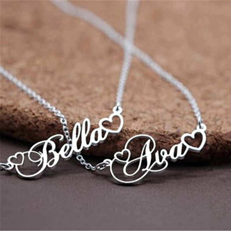 Silver Chain Heart Charm Custom Name Statement Necklace Personalized Cursive Script Collier Christmas Jewelry Valentine's Gift