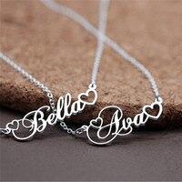 Серебряная цепочка сердце Шарм пользовательское имя заявление ожерелье персонализированные рукописный шрифт колье рождественские украше...