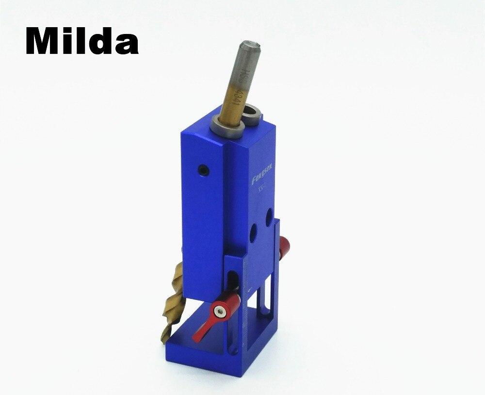 Milda Pocket Hole Jig Kit Sistema Per La Lavorazione del Legno & Falegnameria + Step Drill Bit e Accessori Mini Kreg Stile Strumento di Lavoro del Legno Set