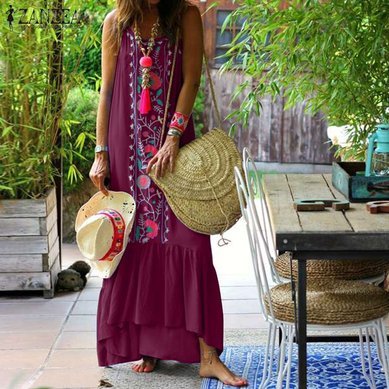 7e4464736639 Vestido de tirantes de verano ZANZEA 2019 mujeres sin mangas con ...