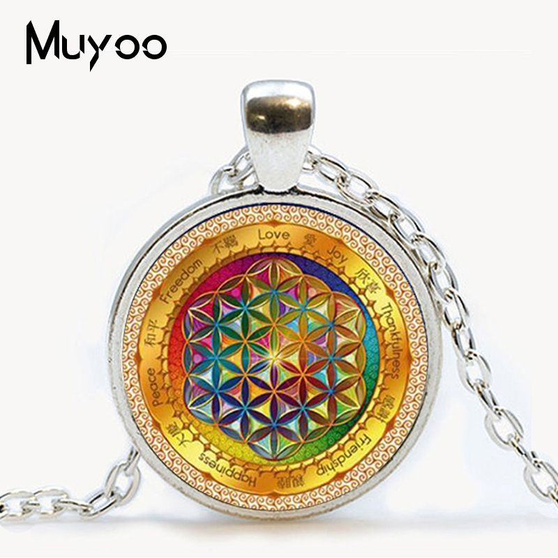 Necklace Jewelry Chakra-Pendant Sacred Geometry Glass Flower-Of-Life Yoga Fashion Women