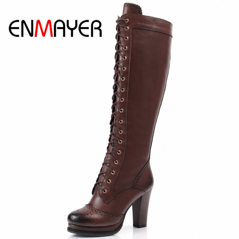Enmayer Winter Boots Shoes Woman High Quality Sexy Women -1851