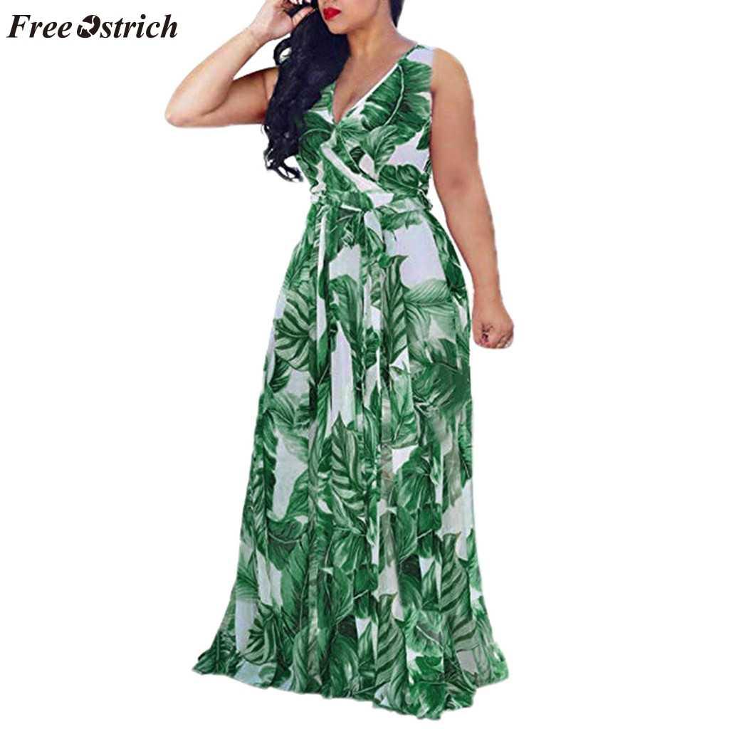 Свободное Ostrich Платье женское тренд большого размера модное повседневное богемное без рукавов с v-образным вырезом без бретелек гофрированное Полосатое платье с разрезом