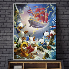 Scrooge McDuck Afoul Of The Flying Dutchman Canvas Painting Print Bedroom Home Decor Modern Wall Art Oil Poster Artwork