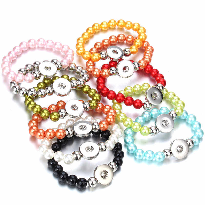 Snap Jewelry 18mm Snap Button Bracelet Elastic Adjustbtale Handmade Colored Resin Beads Bracelets for Women Gilrs ZE506
