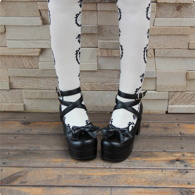 Angelic imprint Sweet High Heels Lolita Shoes Round Toe Bowknot PU Leather Women Pumps size 35-46 9812