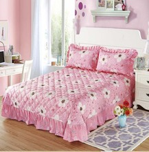 pink flowers full queen king size 3pcs bedding set thicker sheets set bedspreads bed cover with