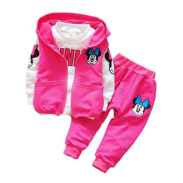 2018 комплект одежды с Минни для маленьких девочек, осенний комплект из 3 предметов для детей, куртка с капюшоном, пальто, жилет, костюмы, хлопковая одежда с героями мультфильмов для мальчиков