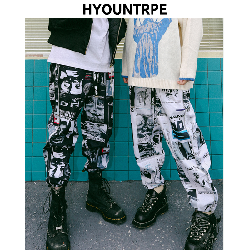 High Street Fashion Graphic Printed Track Pants Trousers Men Women 2018 Casual New Drawstring Elastic Waist Joggers Sweatpants