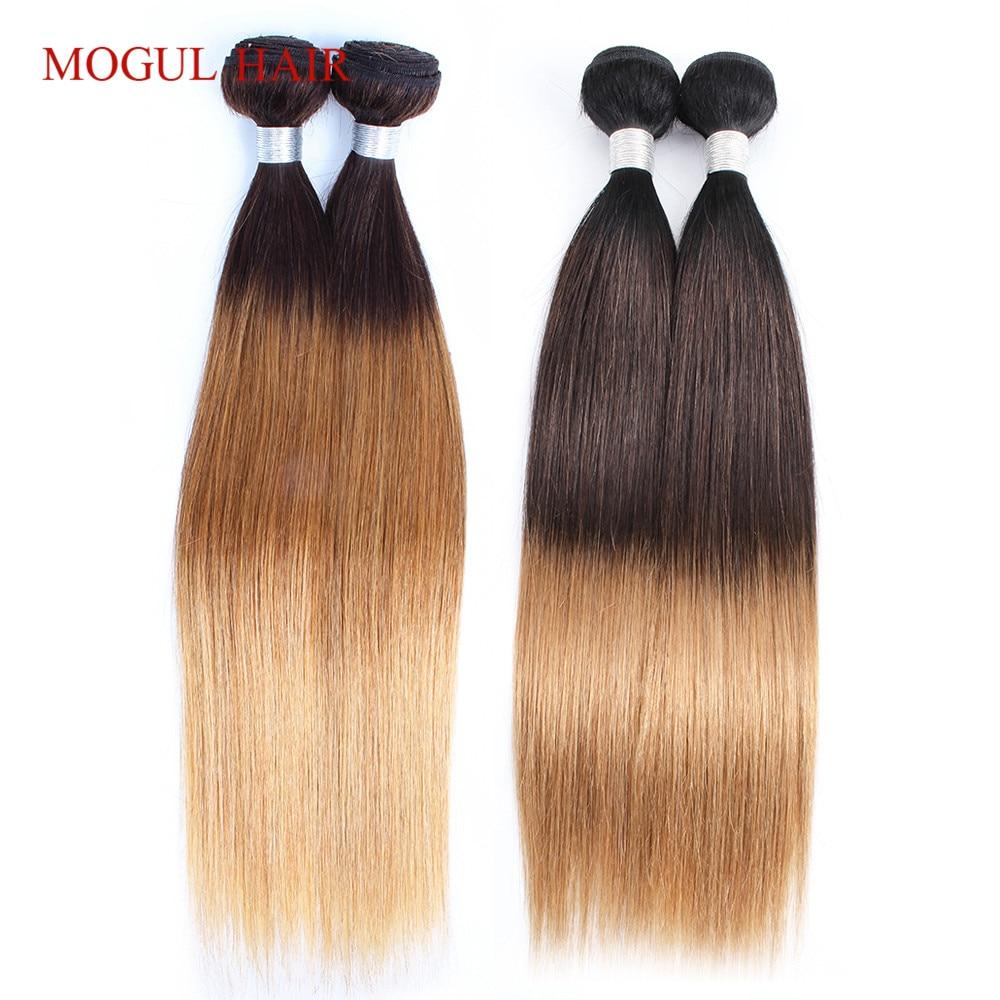 MOGUL HAIR Indian Human Hair Ombre Straight Hair Weave Bundles 2 3 Bundles Three Tone T