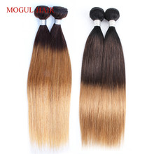 MOGUL HAIR Indian Human Hair Ombre Straight Hair Weave Bundles 2/3 Bundles Three Tone T 4 30 27 Honey Blonde Remy Hair Extension linlin hair pre colored ombre blonde indian straight hair weave 3 bundles 1b 27 non remy indian 100% human hair rollers