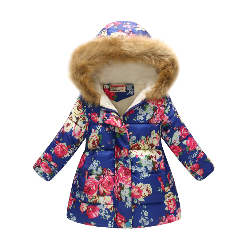 2019 Christmas New Childrens Clothing Girlss Floral Printed Children Long Fur Collar Hooded Cotton-Padded Clothes Kids Coat2019 Christmas New Childrens Clothing Girlss Floral Printed Children Long Fur Collar Hooded Cotton-Padded Clothes Kids Coat