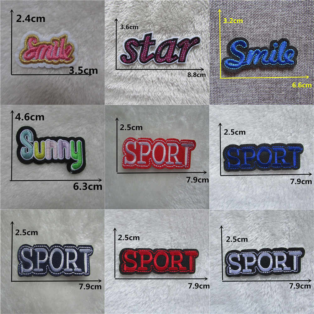 High quality English word Mixed Embroidered Iron On Patch For Clothing Badge Paste applications for clothes Stripes DIY Stickers