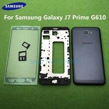 Do Samsung Galaxy J7 Prime On7 2016 G610 G610F środkowa rama przednia pełna obudowa ramka uchwyt rama tylna pokrywa Case tylne drzwi